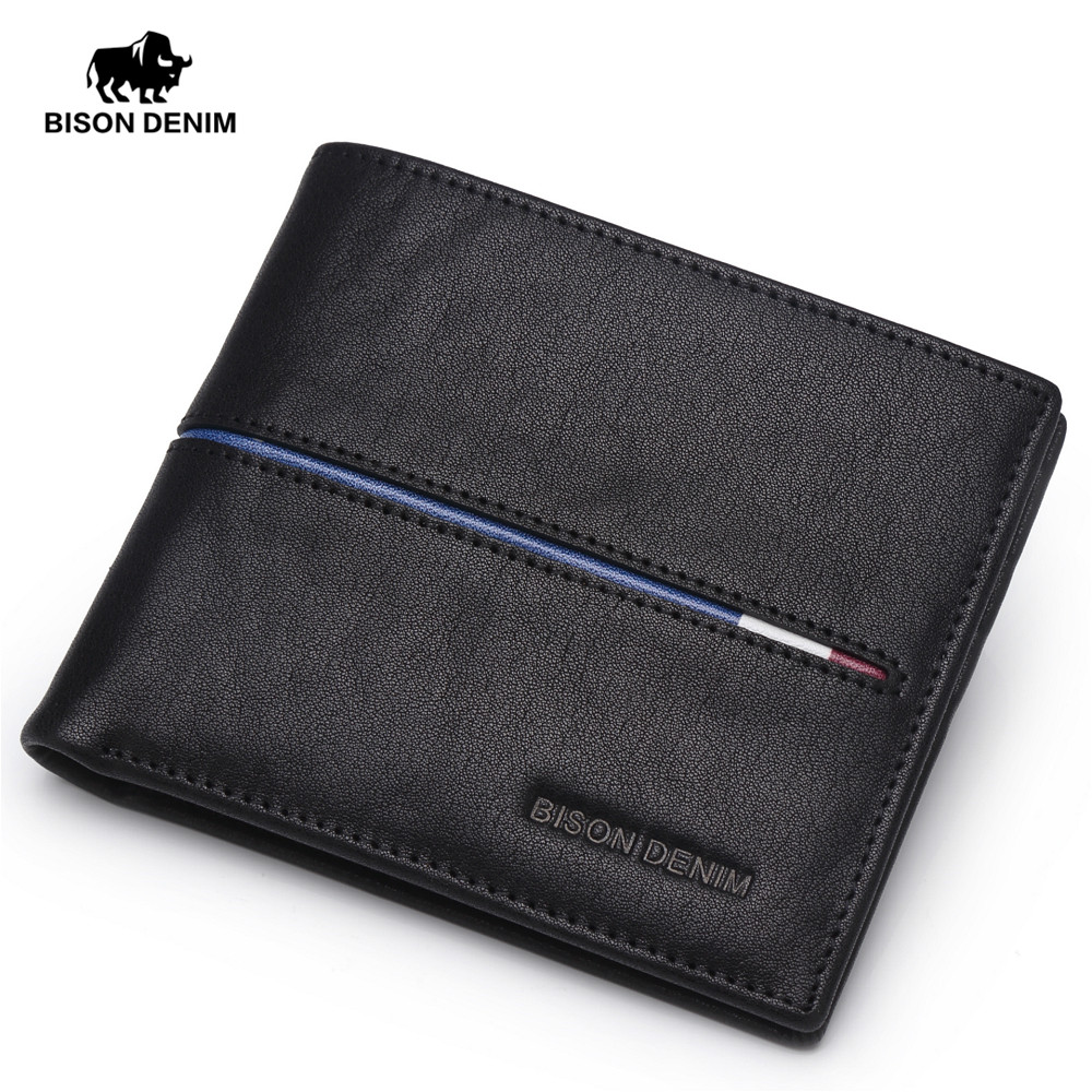 BISON DENIM Genuine Leather Wallet Men Brand Fashion Short Design Purses Male Gift ID Credit Card Holder Slim Bifold Wallet Men fashion solid pu leather credit card holder slim wallet men luxury brand design business card organizer id holder case no zipper