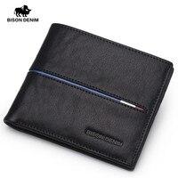BISON DENIM Genuine Leather Men Wallets Brand Fashion Short Design Purses Male Gift ID Credit Card