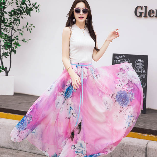 128ad8afb9f placeholder New Quality Fancy Flower Print Long Skirt Feather Sash Women  Elastic Waist Ultra-long Big