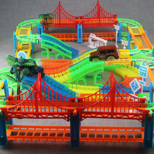Image 5 - Connect 2 Type Railway Magical Racing Track Play Set DIY Bend Flexible Race Track Electronic Flash Light Car Toys For Children