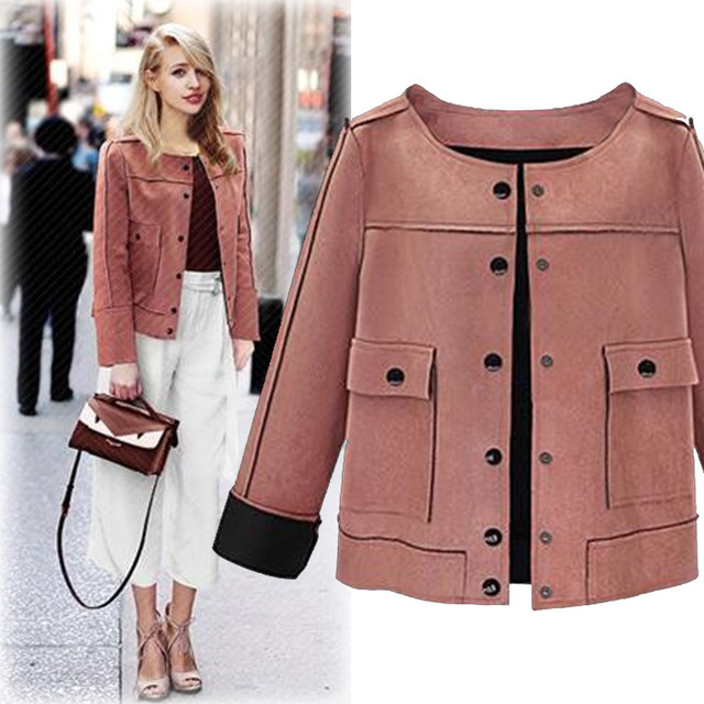 c2d5bb3d2 XL-5XL Plus Size Casual Women Coats 2019 Autumn Winter Fashion Chamois  O-neck Elegant Jackets Female Outwear Big Size Coats