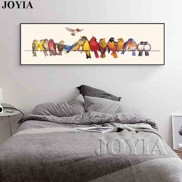 modern living room canvas art barbie furniture diy wall decor bird painting colorful birds on the wire prints picture for bedroom bedside no frame