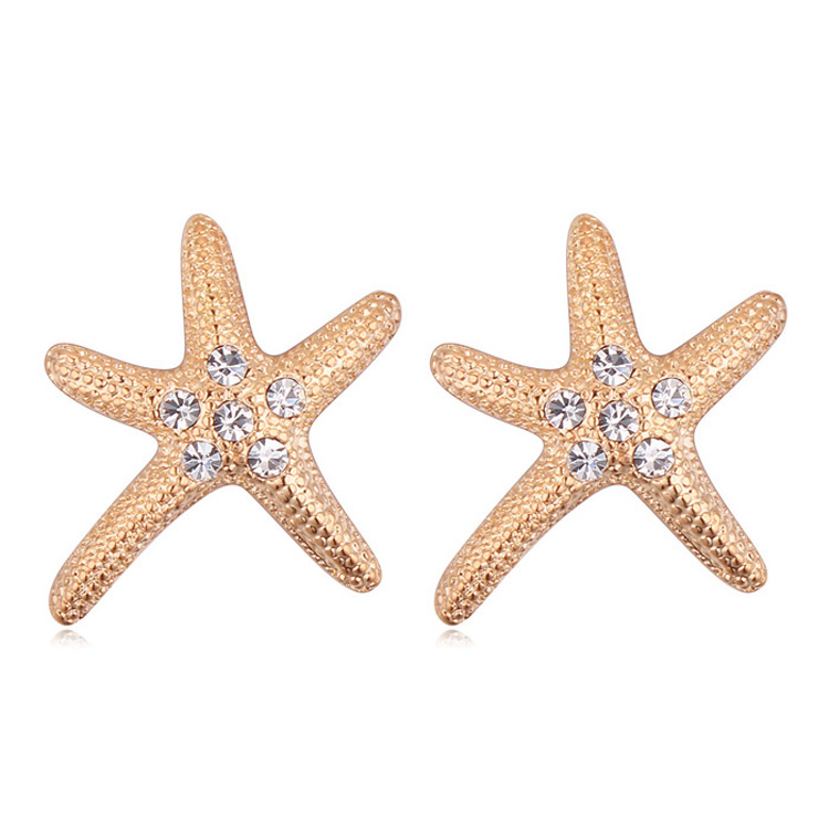 Btime Wholesale Crystals Stud Earrings Women Austria CZ Starfish Earring Rose Gift Jewelry Crystals From Swarovski