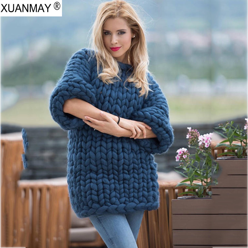 2018 Handmade Sweater Loose large size woman sweater Coarse lines ultra-Thick Fashion design hand-knitted Thick sweater coat ...