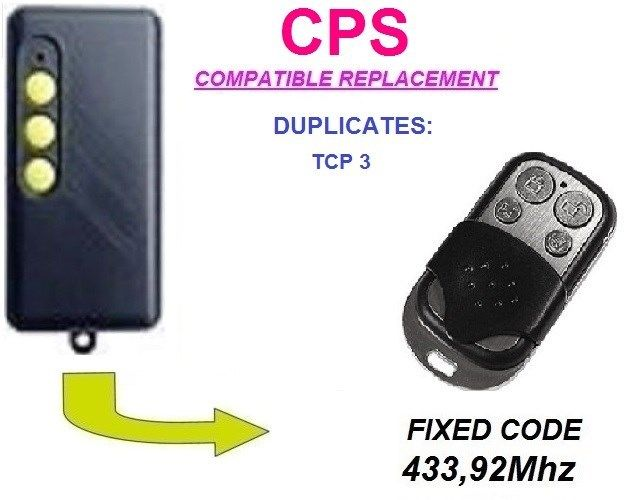 CPS CPS1 TCP3 CPS2 TCP3 CPS4 TCP3 Universal  Remote Control Duplicator  Transmitter Replacement, Clone, Fob 433.92mhz Fixed Code