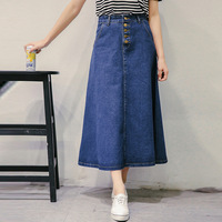 2016 Summer New Fashion Women's skirts,All match ladies denim skirts girl's casual long skirts jeans skirt Free shipping Y019