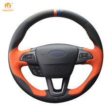MEWANT Black Leather Orange Leather Car Steering Wheel Cover for Ford Focus 3 2015 Kuga Escape 2017