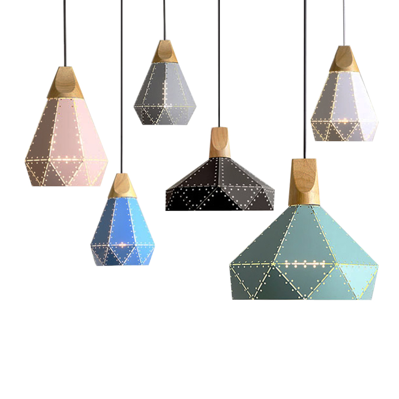 Post Modern Macaron Pendant Lights Metal Painted Colorful Lamp Wooden for Restaurant Bar Dining Island