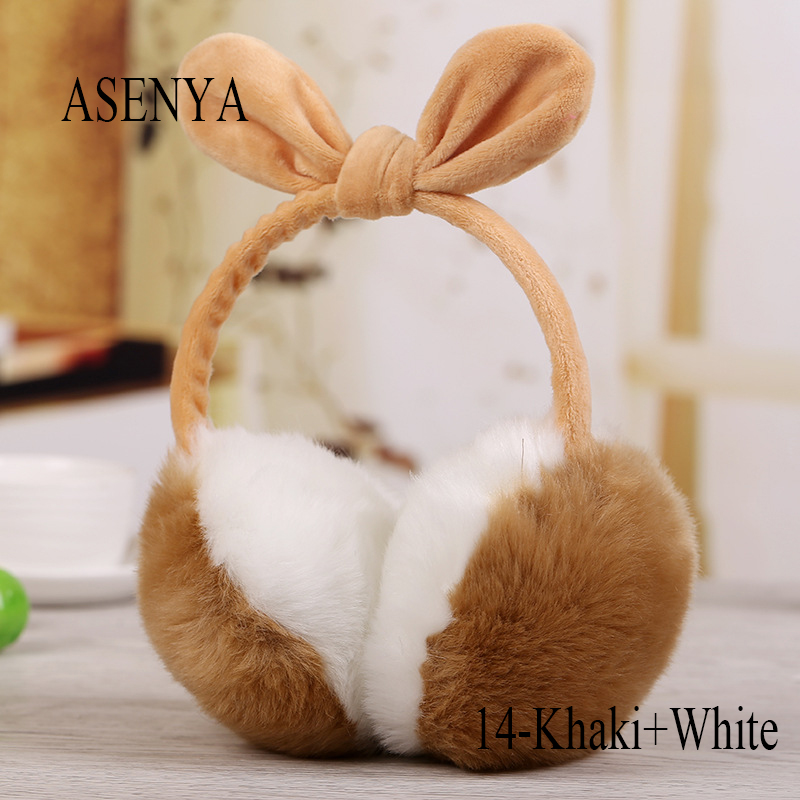 9c71fde952 ASENYA Adjustable Imitation Rabbit Hair Bowknot Winter Earmuffs For ...