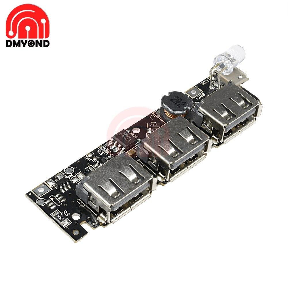 DC 5V 1A 1.5A 2.1A 3 USB блок питания, печатная плата, увеличивающий модуль питания + быстрое зарядное устройство 18650, литий-ионный чехол, Корпус внешне...