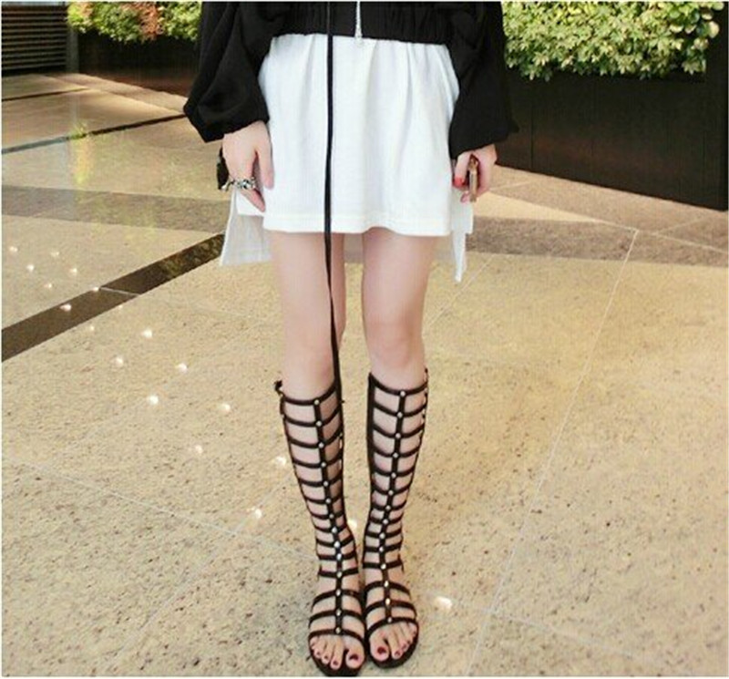 035c67ed118815 Knee High Flat Gladiator Sandals Women Summer Shoes Girls Thigh High  Gladiator Roman Sandals Boots Shoes Woman Sandalias Mujer-in Women s Sandals  from Shoes ...