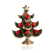 CINDY XIANG Fashion Alloy Christmas Tree Brooches for Women Creative Gift Pins Red Rhinestone Jewelry Coat Dress Accessories