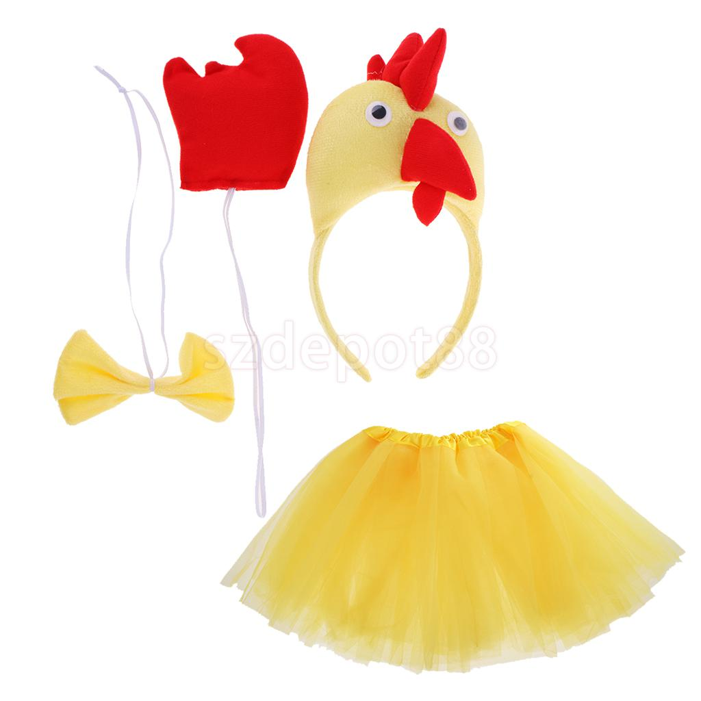 Funny Little Chick Animal Headband Tail Bow Tie Costume Accessory Fancy Dress