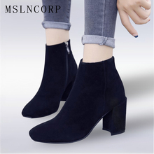 Plus Size 34-43 Genuine Leather Flock Ankle Boots Square High Heel Zipper Autumn Winter Shoes Ladies Party Fashion Martin Boots lovexss woman metal decoration high heeled ankle boots autumn winter plus size 33 43 shoes black gray genuine leather boots