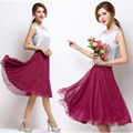 High Elastic Waist Pleated A Line Midi Skirt Adult Tulle Skirts Womens Summer Style Black White Pink Red Grey Purple 18 Colors