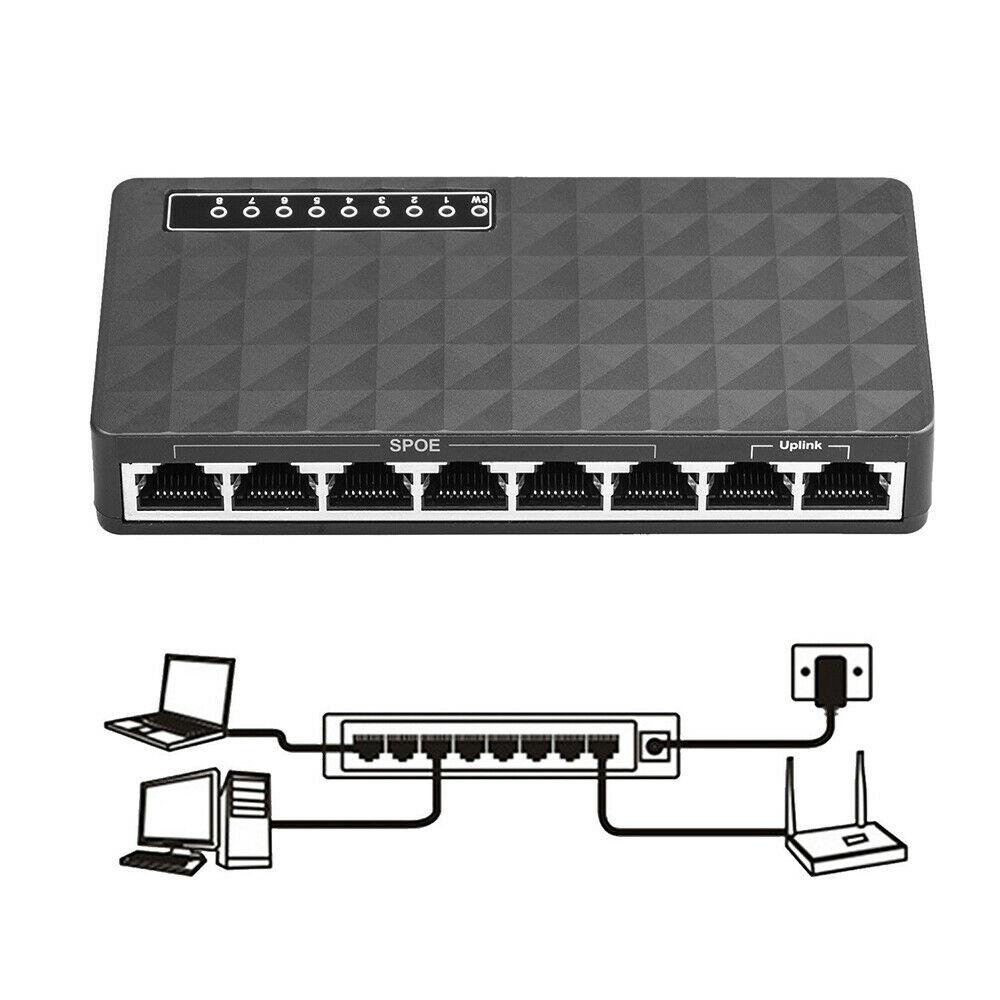 8 PortS 10//100Mbps Gigabit LAN Ethernet Network Switch HUB Desktop Adapter US