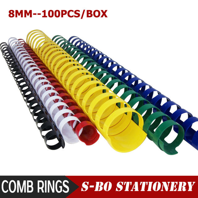 8mm Plastic Comb Ring Binder 100pcs Box