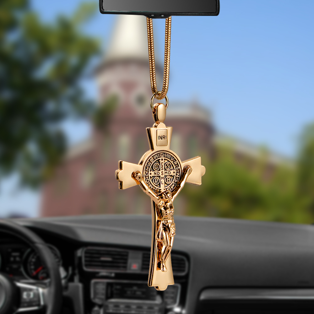 Car Pendant Zinc Alloy Jesus Cross Christian Religion Jesus Crucifix Figurine Hanging Ornament For Auto font