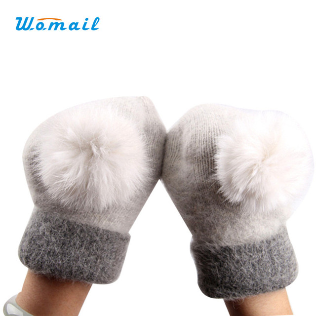 Newly Design Women's Cute Winter Warm Wool Gloves Mittens Aug19 Womail