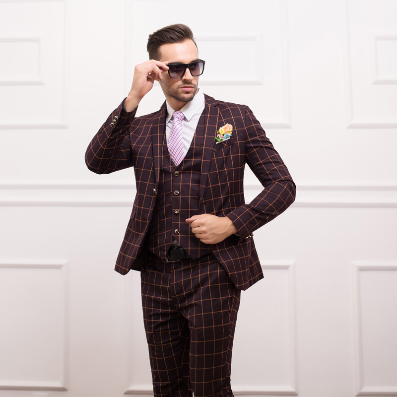 2015 New Jacket Pants Vest Fashion Men Suits British Style Slim Suit Plaid Men 39 S Suit