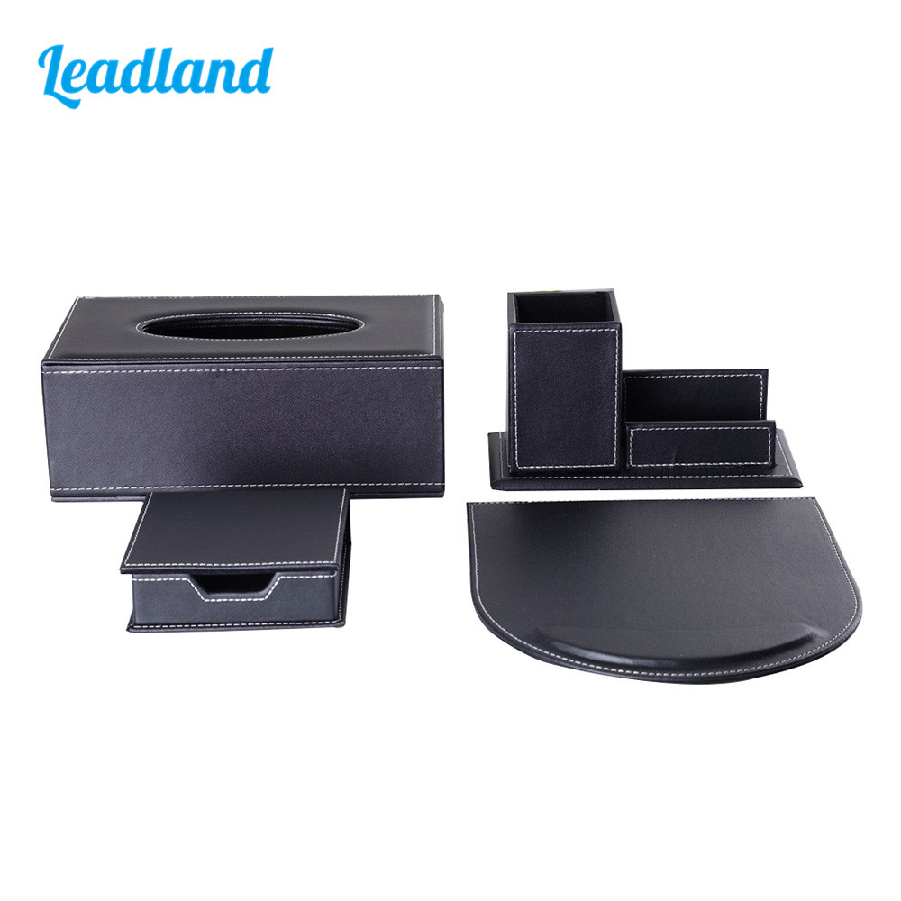 Modern Style Office Desktop Stationery Organizer Set Include Tissue Case Pen Holder Mouse Pad and Memo Box T11 kingfom 5 pcs modern upscale leather office supplies sets stationery storage box mouse pad card holder desk sets brown t50h