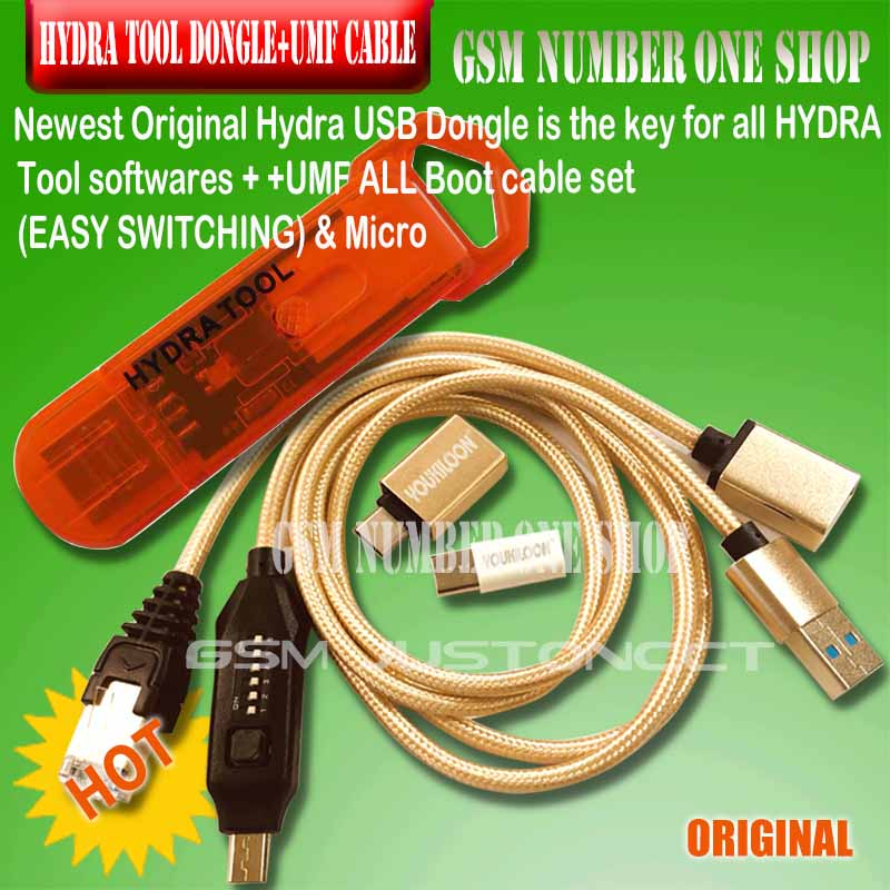 original new hydra tool dongle for all HYDRA Tool softwares + umf all in one boot cable (EASY SWITCHING) & Micro(China)