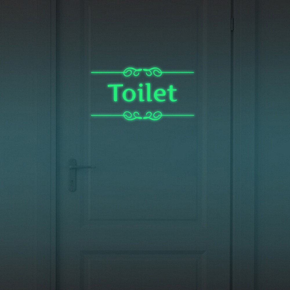 Luminous Bathroom Wall Stickers Home Door Decor Glow In The Dark Toilet WC Indoor Stickers