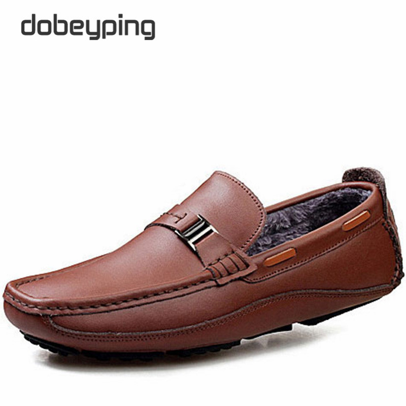 New Men's Casual Shoes Keep Warm Winter Men Loafers Real Leather Male Driving Shoe Fashion Moccasins Man Flats Plush Inside Shoe 2017 new fashion summer spring men driving shoes loafers real leather boat shoes breathable male casual flats