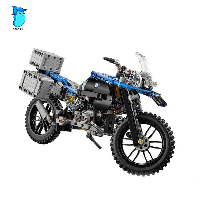 StZhou 603pcs Building Blocks Model Compatible with Technic Figures The Off-road Motorcycles Toys For Children wange mechanical application of the crown gear model building blocks for children the pulley scientific learning education toys