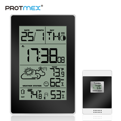 PROTMEX Weather Station Clock Temperature Humidity Wireless Sensor  LCD Display Backlight Weather Forecast Moon Phase