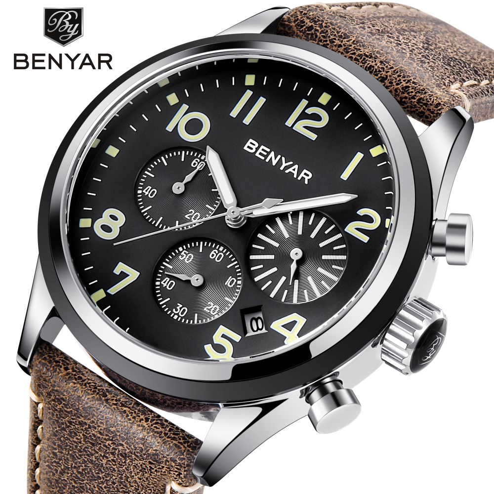 2018 BENYAR Men Watches Top Brand Luxury Quartz Watch Mens Sport Fashion Analog Leather Strap Male Waterproof Clock Wristwatch