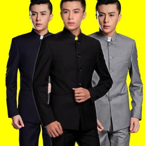 Formal dress slim fit blazer men chinese tunic suit jacket male new design groom married suits man fashion blazers + pants black