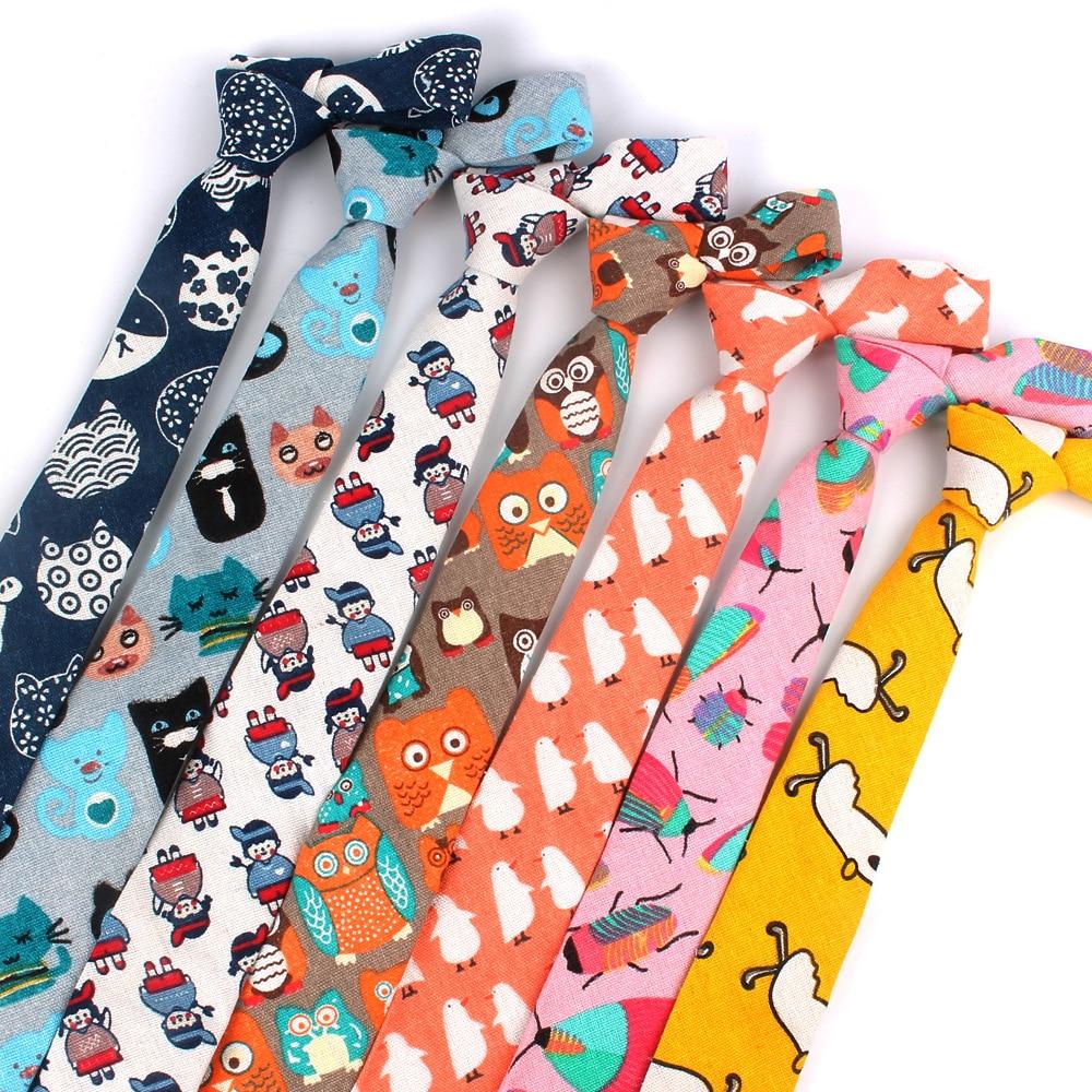 Cartoon Print Tie For Men Women Skinny Neck Tie For Wedding  Casual Cartoon Neckties Classic Suits Slim Cotton Linen Neck Ties