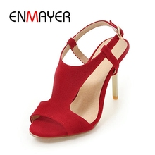 ENMAYER bolso 2018 nueva llegada verano dama delgada hebilla tacón trampa  sandalias de moda de las mujeres 83508aa29e1b