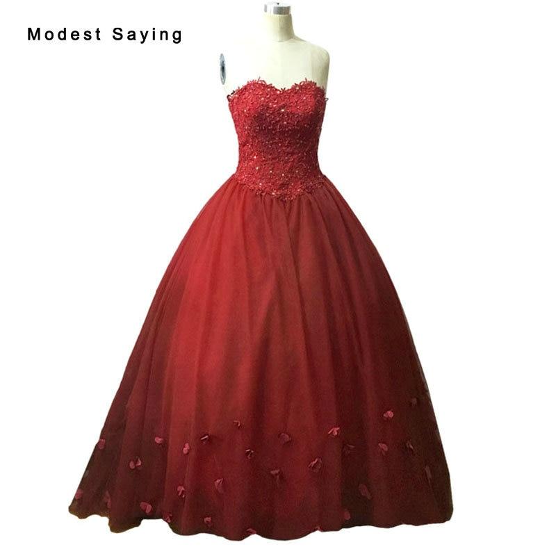 Lujo Borgoña vestido de bola flores con cuentas vestidos de novia de encaje 2017 rojo oscuro Dubai árabe largo vestidos de novia vestido de noiva LW15