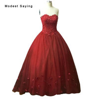 Luxury Burgundy Ball Gown Flowers Beaded Lace Wedding Dresses 2017 Dark Red Dubai Arabic Long Bridal Gowns vestido de noiva LW15