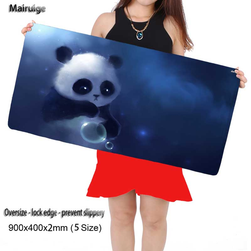 Mairuige Shop Free Shipping Locking Edge Large Gaming Lovely Panda Mouse Pad for Computer Laptop Notbook for League of Legends