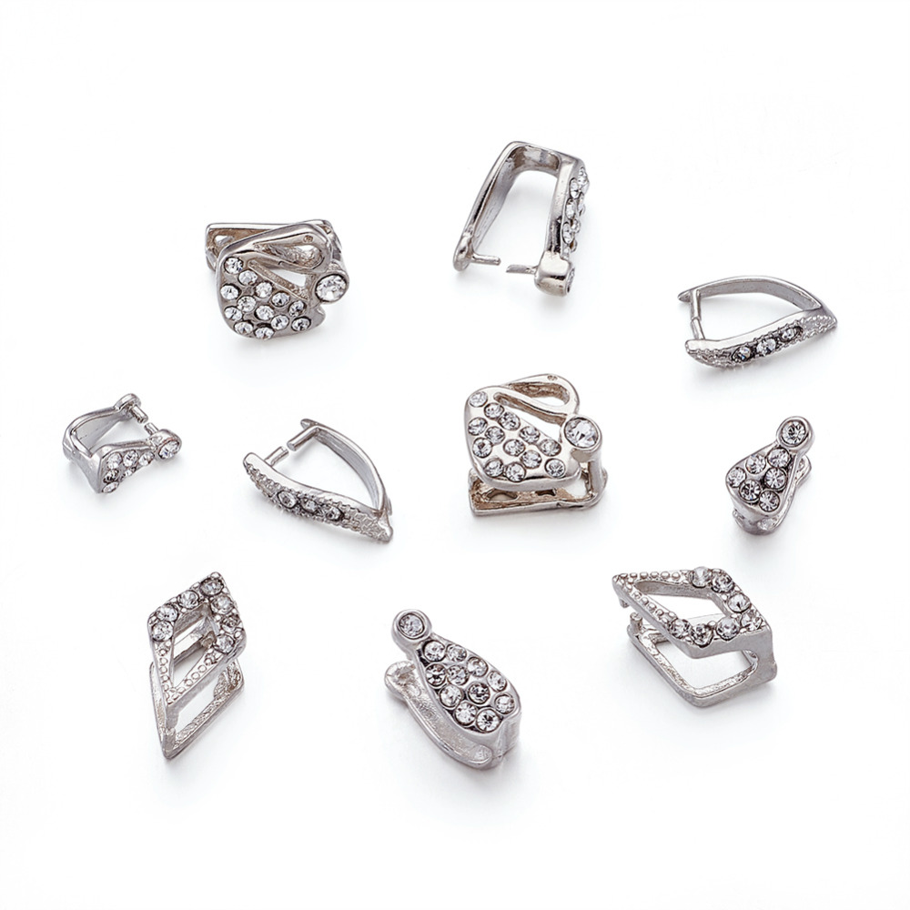 100 PCs Mixed Style Ice Pick & Pinch Bails Dangle Charm Jewelry Findings Pendant Clasps Connectors With Rhinestone, Platinum