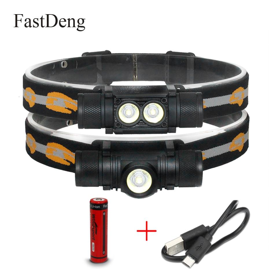LED faro 1000LM 10 W T6 Mini luz blanca luz de linterna 18650 batería faro D10 D25 frente para Camping caza pesca