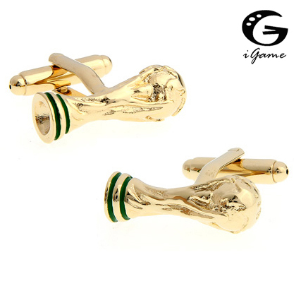Igame Golden Cuff Links Color Football Sport Design Brass Material