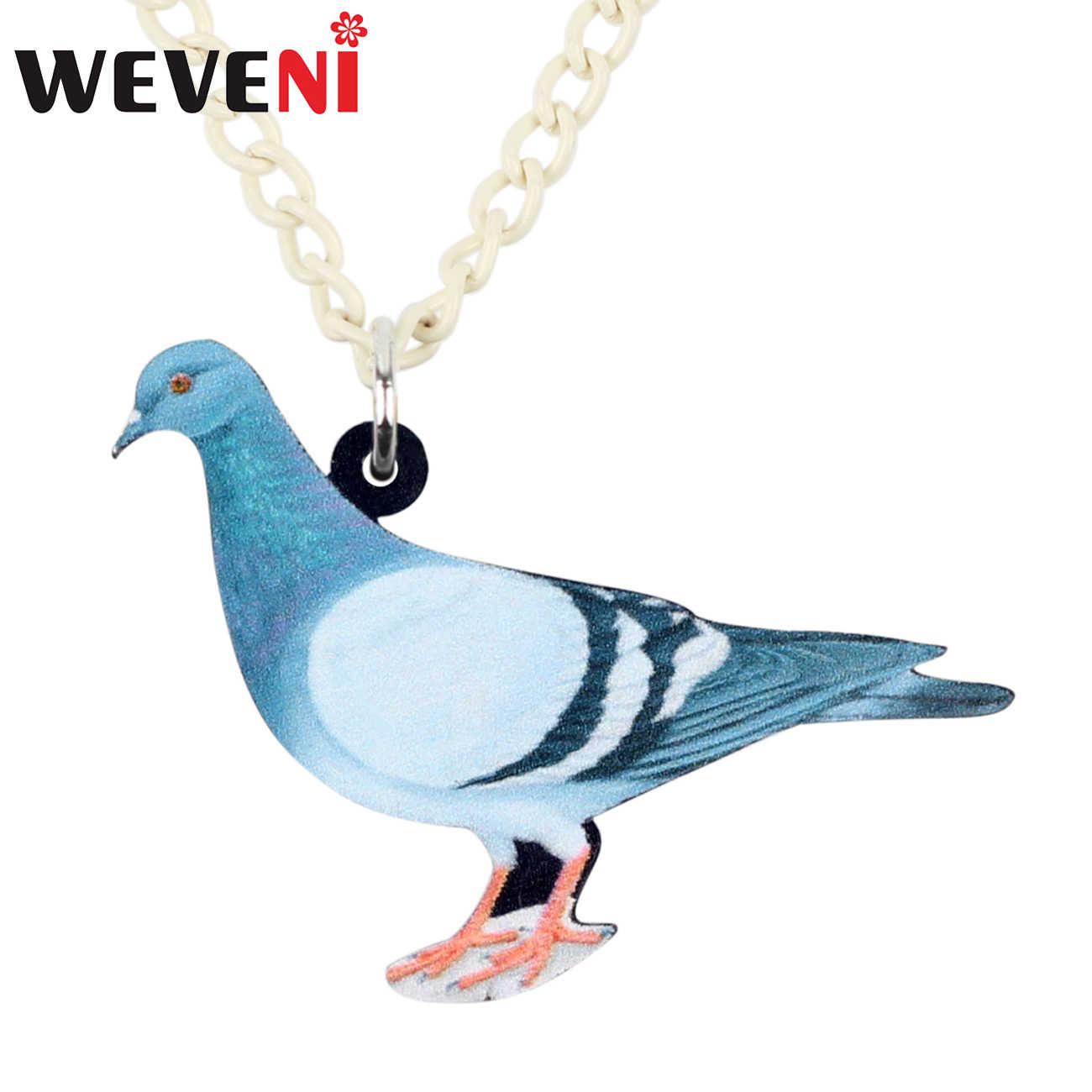 WEVENI อะคริลิคสีฟ้า Dove Pigeon Bird สร้อยคอจี้ Collier แฟชั่นสัตว์เครื่องประดับสำหรับหญิงสาววัยรุ่นของขวัญอุปกรณ์เสริม