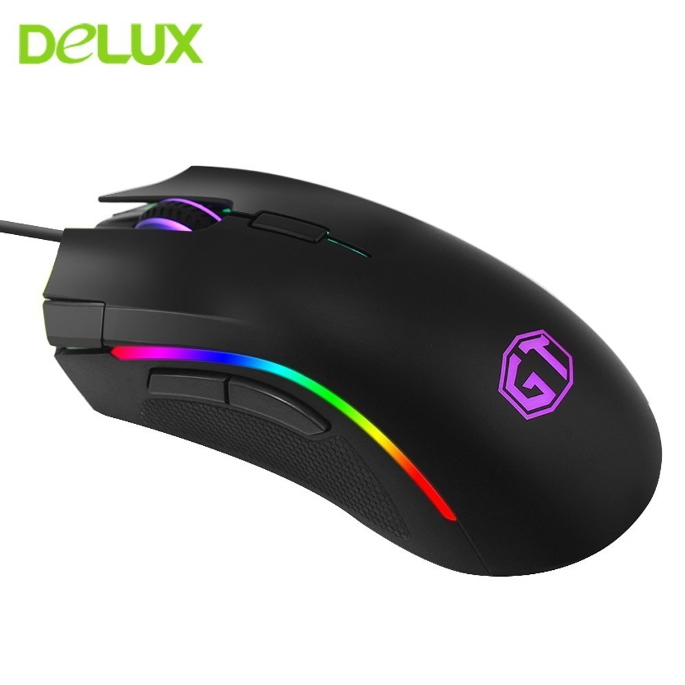 Delux M625 A3050 RGB Backlight Gaming Mouse 4000 DPI 7 Programmable Buttons USB Wired Mice For Overwatch LoL Game For PC Laptop image
