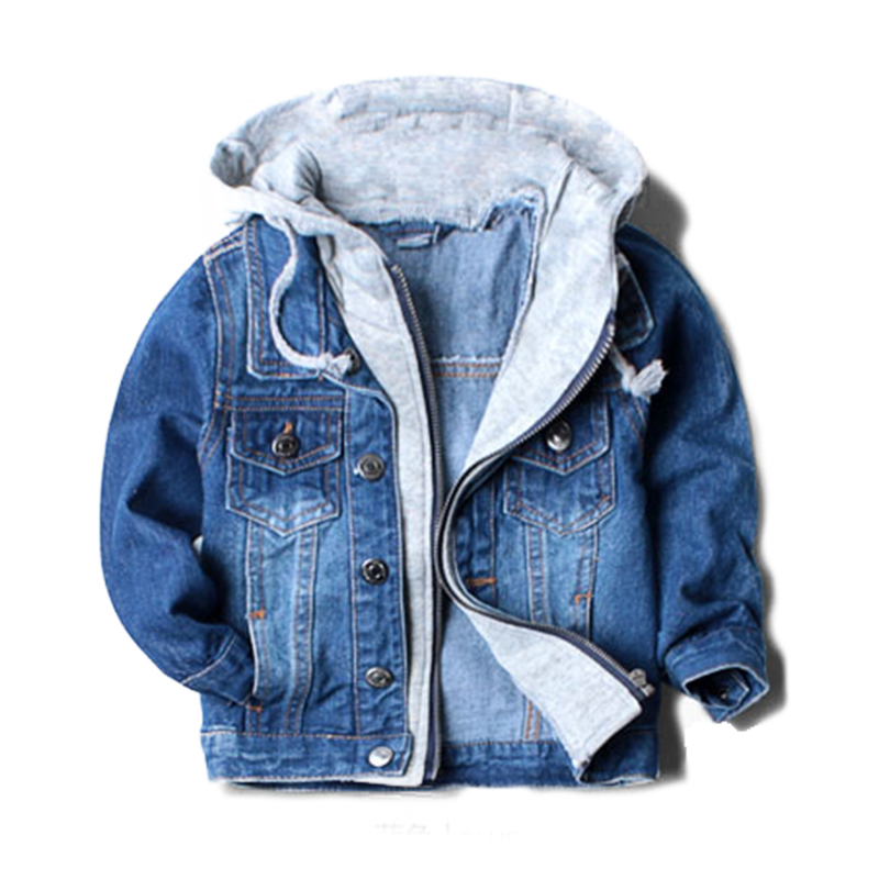 For 2-8 Yrs baby boys jacket Outerwear and Coat for boy children hooded denim jacket Patchwork Autumn Kids Boys Sweatshirts ...