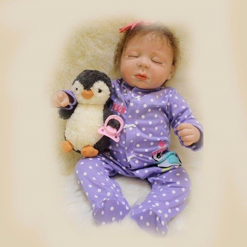 [SGDOLL] 50cm/20 Lifelike Handmade Silicone Vinyl Newborn Sleeping Girl Reborn Doll Baby Toy Gift Collection 17042747 handmade chinese ancient doll tang beauty princess pingyang 1 6 bjd dolls 12 jointed doll toy for girl christmas gift brinquedo
