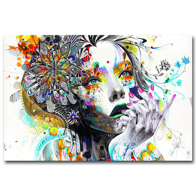 Famous Art Trippy Psychedelic Abstract Girl Silk Poster Prints 12x18 24x36 inch