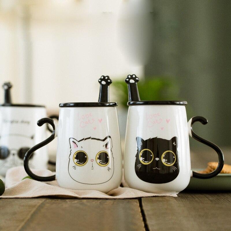500 ml 3D Gato Dos Desenhos Animados Caneca de Cerâmica Com Tampa e Colher Criativo Leite Xícara de Chá de Café de Porcelana Canecas Valentine's presente do dia