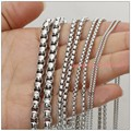 5/10Meter Promotion Sale Fashion DIY Jewelry Tone Box Chain 316L Stainless Steel Silver In Bulk 1-5mm Width Finding For Pendant