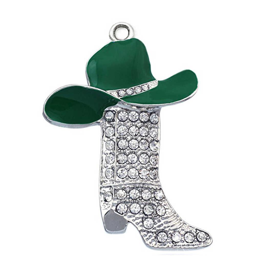 Necklaces Làm Trang Sức Thời Trang Kim Loại Hợp Kim Trắng Pha Lê Cao gót Khởi Động Mũ và Mặt Dây Chuyền Cho Charm Cowboys Cowgirls