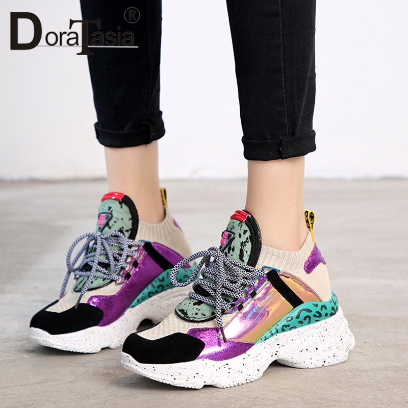 DORATASIA 2019 New Hot Sale INS Summer Whole Genuine   Leather     Suede   Women Sneakers For Ladies Casual Shoes Woman 35-42