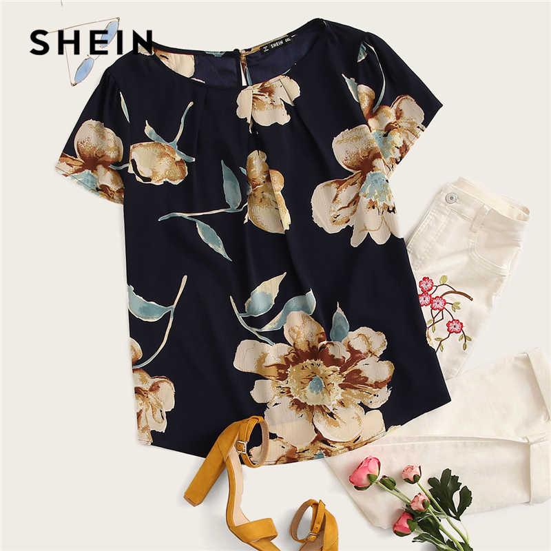Шеин Стильный Многоцветный изогнутый подол шарф ретро печати V средства ухода за кожей Шеи Топ атласная блузка для женщин летние шорты рукав